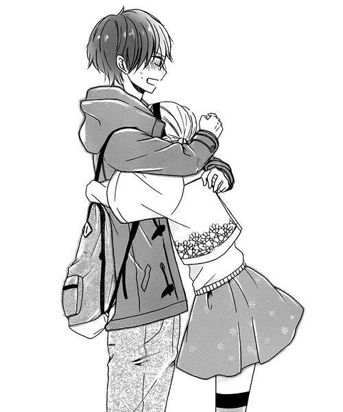 Anime Characters Hugging : Imagen vía we heart it blackandwhite couple cut hug
