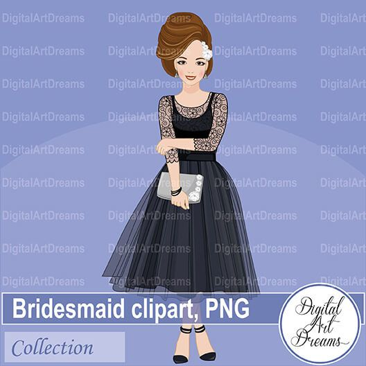 Pretty Bridesmaid In Black Dress Clipart In Png Format Transparent Background The Collection Includes 5 Images Dress Clipart Dress Images Wedding Printables