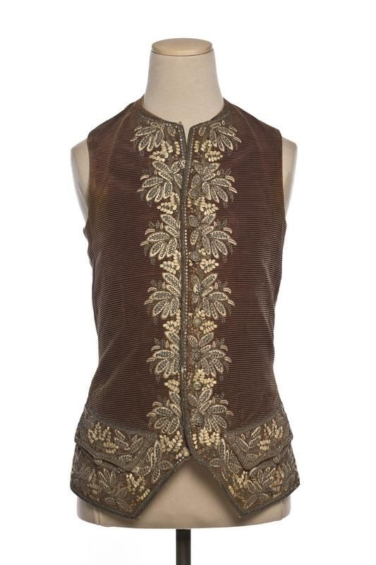 Waistcoat, France, 1750-1770. Brown cut and voided silk velvet (ciselé) with metallic thread embroidery along the edges in a floral design.