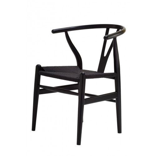 Wishbone Chair In Black Replica Ch24 Hans Wegner Y Chair