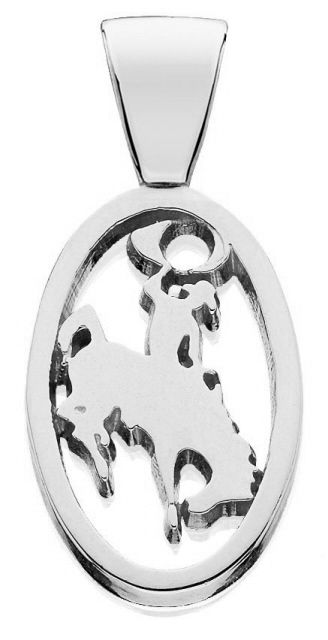 Small Sterling Silver Bucking Bronco Pendant