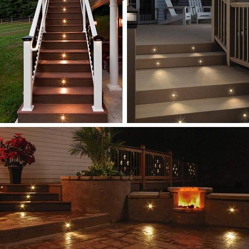 These 10x Led Deck Lights Are A Very Environmentally Friendly Way Of Lighting And Enhancing Your Garden Deck Step Lights Deck Lighting Landscape Lighting Kits