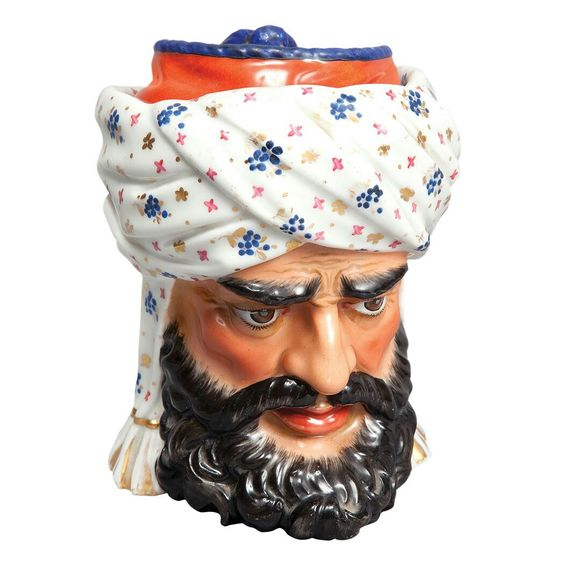 French Porcelain Tobacco Jar Paris, 19th century In the form of a Turkish man's head. Height 6 1/4 inches.