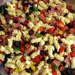 This Pasta Salad  - Made With Provolone, Salami, Pepperoni, Bell Peppers, And Black Olives Tossed With Fusili Pasta And Italian Salad Dressing - Is Very Easy To Make, And Can Be Prepared In 45 Minutes Or Less.