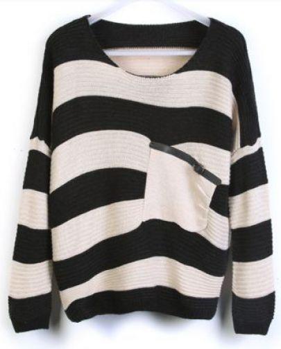 Negro Rayas suéter flojo con fotografías Bolsillo