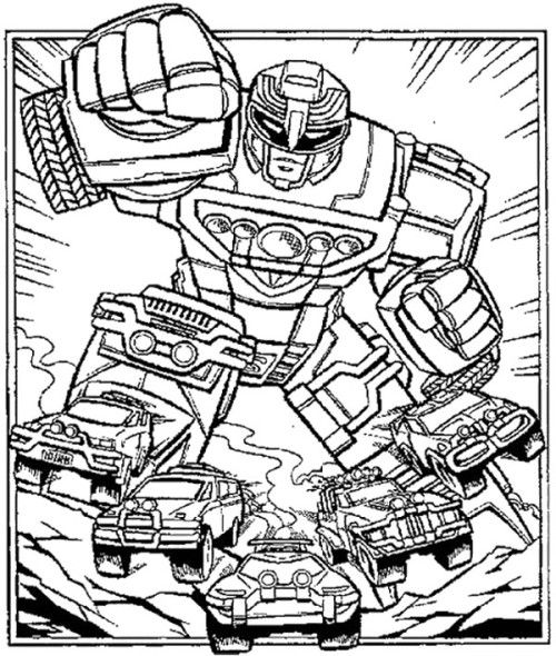 Robot Power Rangers Turbo Coloring Page colouring pages