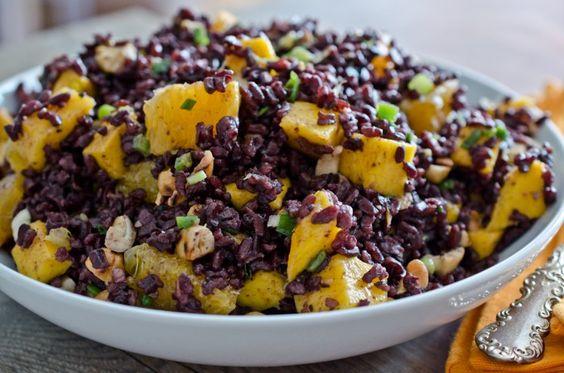 black-rice salad w/ mangoes and cashews