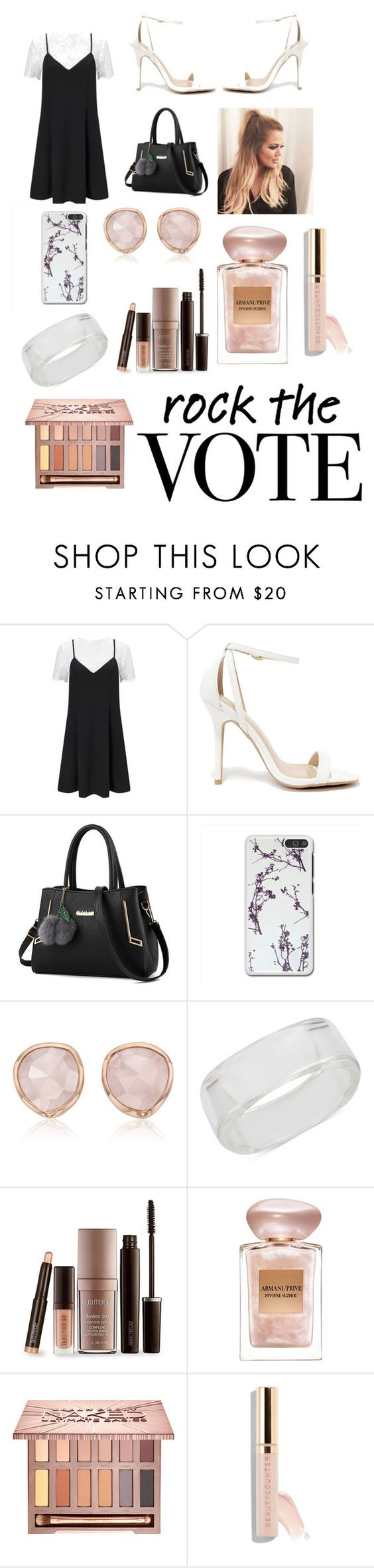 """""""~A"""" by abditorywonderland ❤ liked on Polyvore featuring Miss Selfridge, LULUS, Monica Vinader, INC International Concepts, Laura Mercier, Giorgio Armani, Urban Decay and Beautycounter"""