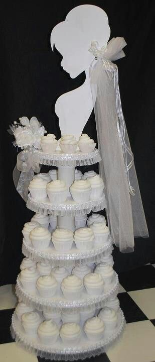 Bride 5 tier cupcake dessert stand; pink/silver veil and bouquet (changeable)