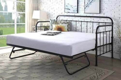 Hospital Style Metal Day Bed With Trundle Bed Single Size Black Home Furniture Diy Furniture Beds In 2020 Guest Bed Black Bed Frame Metal Daybed With Trundle