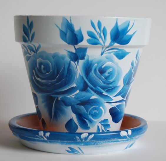 6 inch Hand Painted clay flower pot Blue roses by ... - photo#42