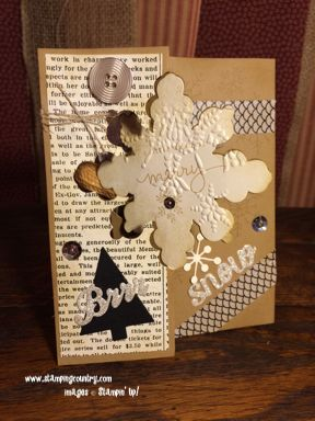 Vintage Christmas Card, Endless Wishes, Snowflake Card Die, Flip Card, Stampin' Up!