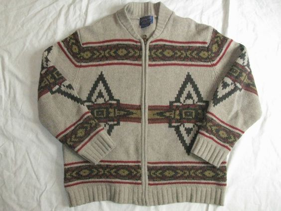 Vtg Pendleton Wool Cowl Neck Navajo Indian Cardigan Mens Sweater M Blanket #Pendleton #Cardigan