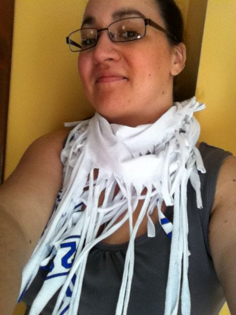 Blue and white recycled infinity fashion tshirt scarf by 3colon7, $10.00