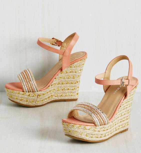 Peach and Metallic Wedge