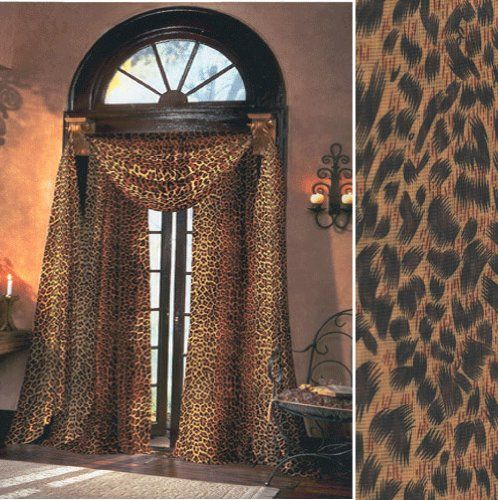 Leopard Sheer Curtains, 59 inches wide by 84 inches long panel ...
