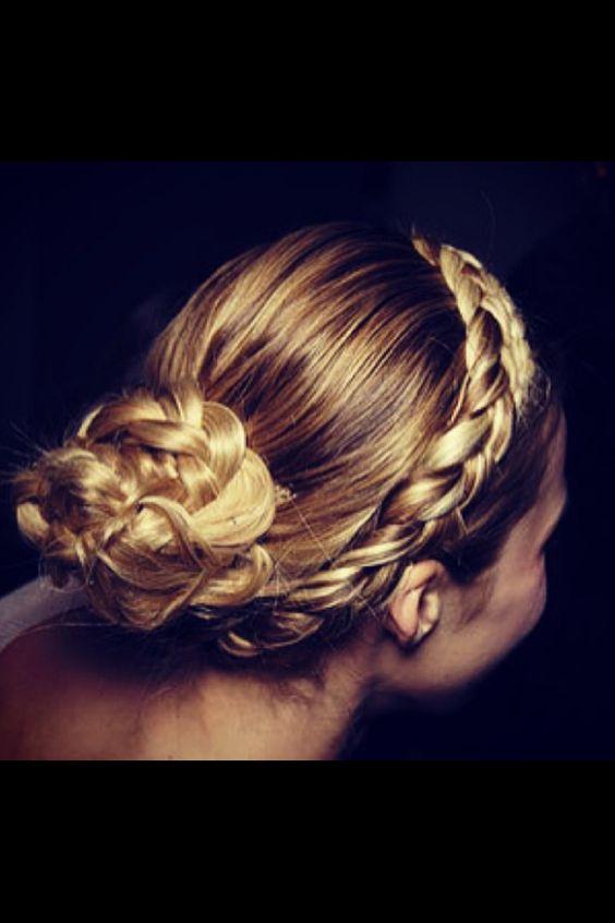 Side braids into a bun with continuous braids