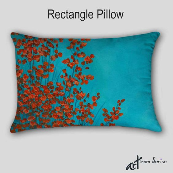 Abstract decorative pillows - oblong or square. Red, aqua, teal and turquoise blue home decor by ...