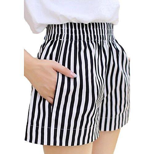 Mujer Tallas Grandes Perneras Anchas Vaqueros Pantalones A Rayas 2020 Us 9 44 Pantalones Cortos De Mujer Ropa Pantalones De Moda