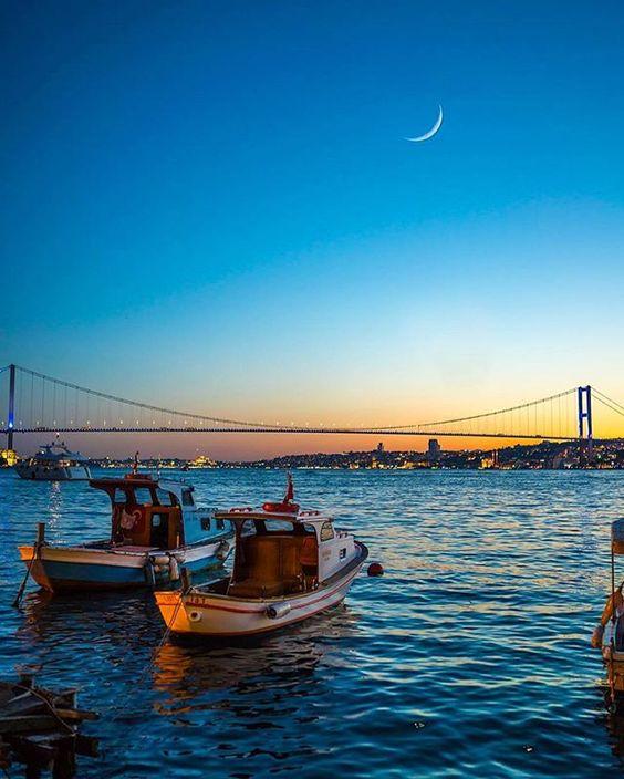 Night skies in Istanbul.