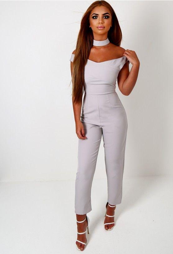 Uma Grey Bardot Choker Jumpsuit