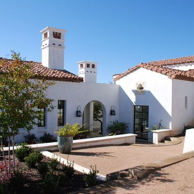 Red tile roof white stucco black steel windows for White stucco mediterranean house