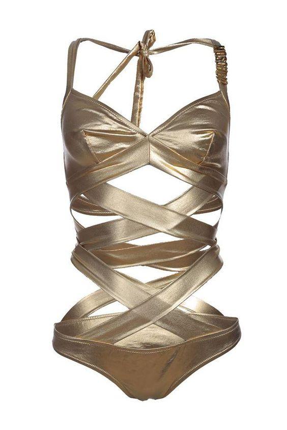 Moschino+Swim+Gold+Swimsuit