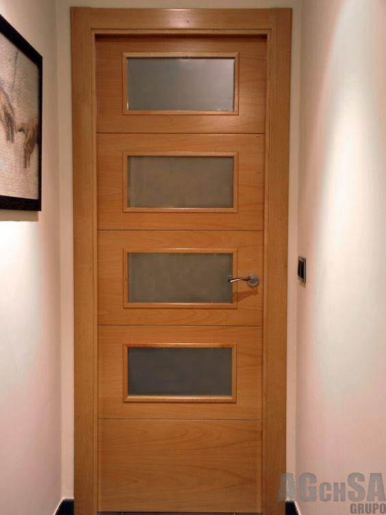 Puerta con 4 cristales opacos puertas de madera pinterest - Catalogo de cristales para puertas de interior ...