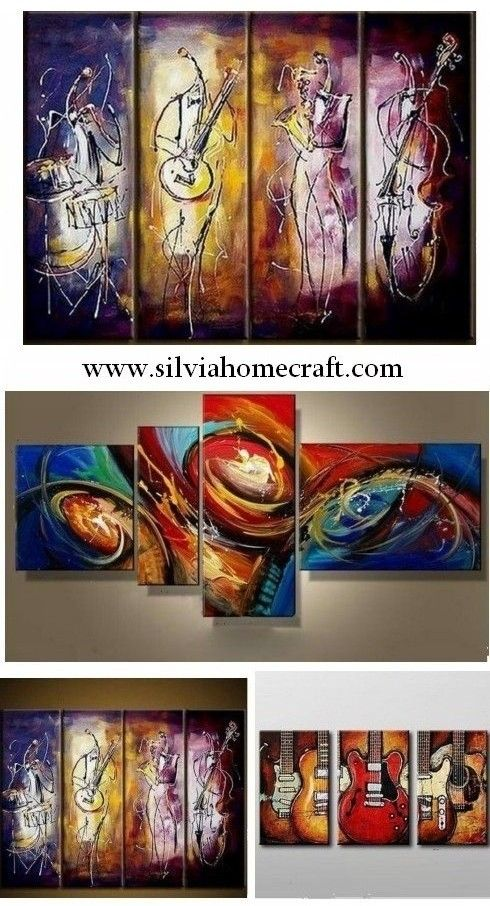 4 Piece Wall Art Music Player Painting Extra Large Art Abstract Wall Art Wall Painting Acrylic Art Modern Art Large Canvas Painting Abstract Canvas Painting Canvas Paintings For Sale