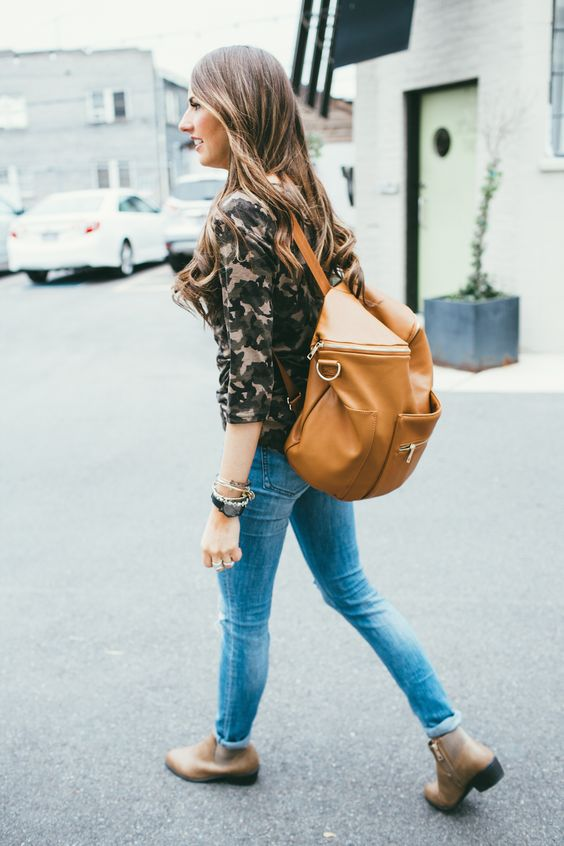 women fashion outfit-camo tunic-distressed jeans-back pack-ankle boots-and backpack