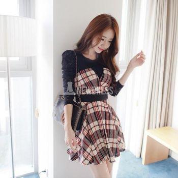 Dress lace long sleeve splicing grid restoring ancient ways dresses $9.18 newdress.com ❤️