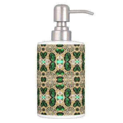 Girly Chic Luxury Gold Emerald Green Rhinestone Bath Set Zazzle Com In 2020 Green Bathroom Accessories Bath Accessories Set Bath Sets