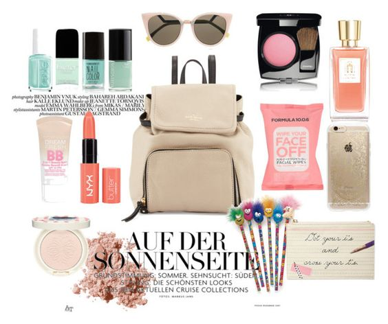 """Untitled #15"" by thamiharoen on Polyvore featuring beauty, Kate Spade, Maybelline, Lancôme, Formula 10.0.6, Chanel, Bobbi Brown Cosmetics, Paul & Joe, Rifle Paper Co and Fendi"