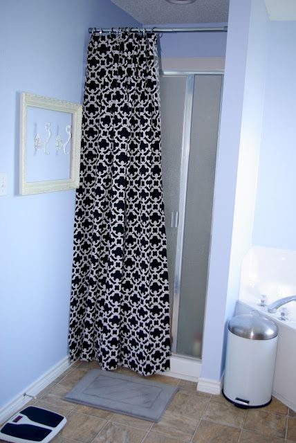 Ruffled Curtain Over Glass Shower Door | Ruffled curtains, Shower ...
