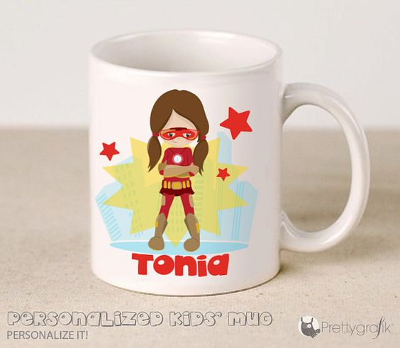 SALE Custom Superhero Mug personalized by PrettygrafikGifts