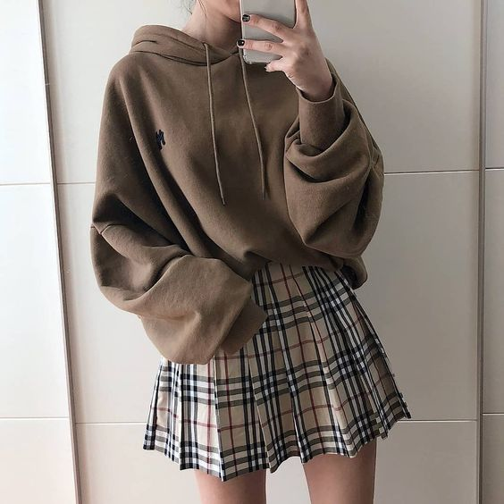 oversized hoodie & plaid skirt outfit #ulzzang