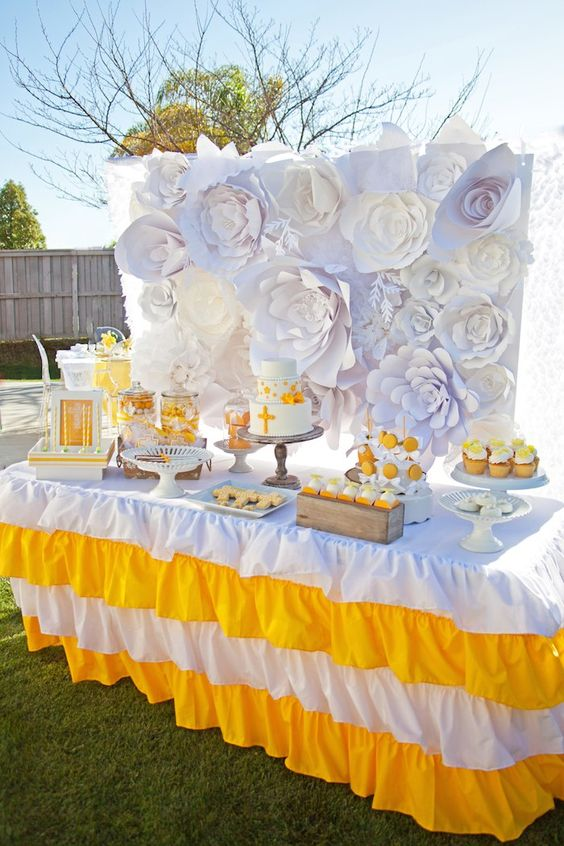 Yellow and White First Communion Party with Lots of Really Pretty Ideas via Kara's Party Ideas