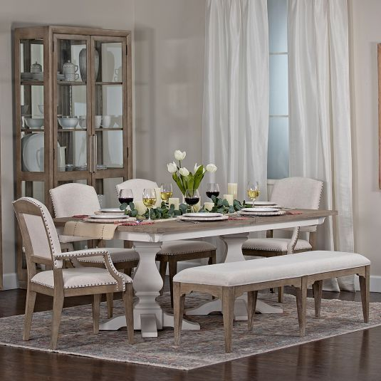 White Dining Room Table Set W 4 Chairs Bench Jerome S In 2019