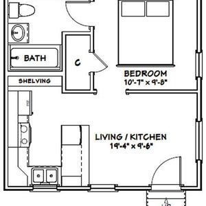 20x20 Tiny House 1 Bedroom 1 Bath 400 Sq Ft Pdf Floor Plan Instant Download Model 1b Tiny House Floor Plans One Bedroom House One Bedroom House Plans