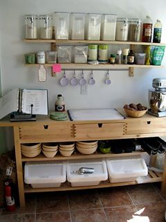 Love the idea of putting all your baking supplies together in a sort of baking station- empty spot on kitchen wall next to stove.