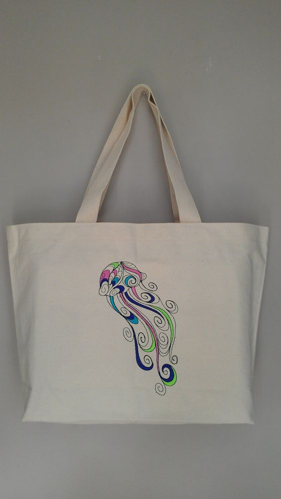 jellyfish cotton canvas tote bag embroidery by RavensThread, $25.00