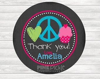 Friedenszeichen Geburtstag Sticker, Gunst Tags, alles Gute zum Geburtstag-Aufkleber, Geschenkanhänger, begünstigen Tag, druckbare Gunst Tags: No.135