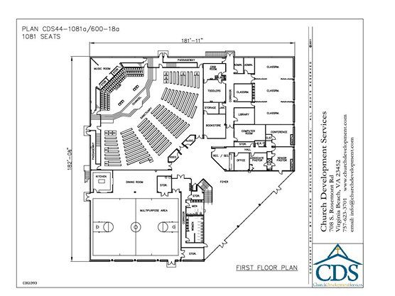 Small Church Building Plans | Church Building Plan 44-1081/600-18