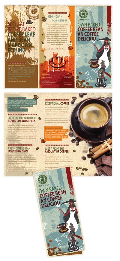 Coffee Shop Tri Fold Brochure Template Coffee Shop Tri Fold