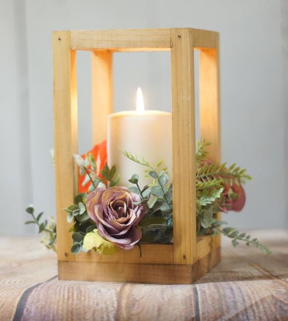 Simple DIY Wedding Decoration Idea With Wood Lantern And Flowers