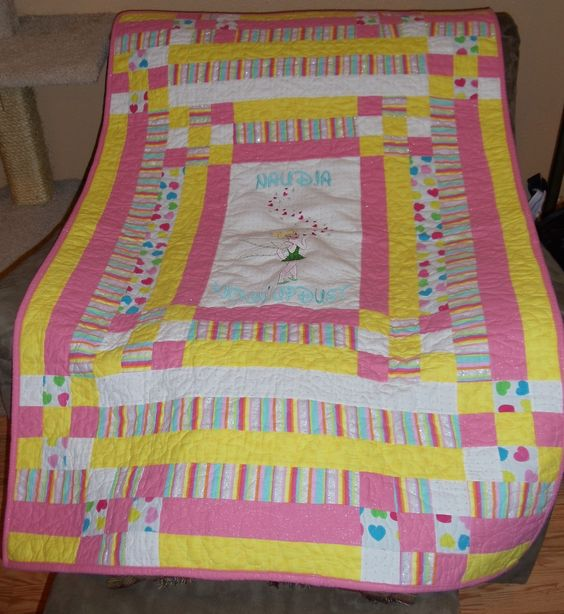 """Here is the blanket I made for the big sister, Naudia. She was """":helping"""" with the shower and I didn't want her to be left out. This blanket is also cotton flannel with a thermal batting."""