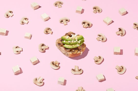 Ingredients that come together for the better – sauteed mushrooms, avocado and feta.