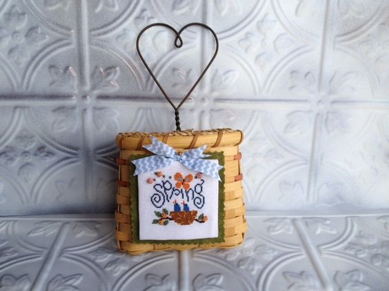 Cross Stitch Spring Basket by homecrafting on Etsy