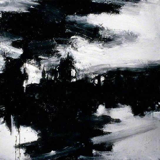 'Landscape No.662' (2003) by British painter John Virtue (b.1947). White acrylic, black ink, shellac & emulsion on canvas, 183 x 183 cm, via BBC
