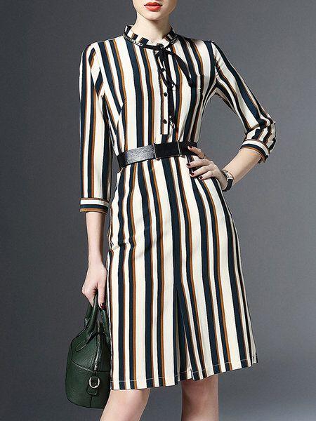 Lonyuash H-line 3/4 Sleeve V Neck Work Midi Dress